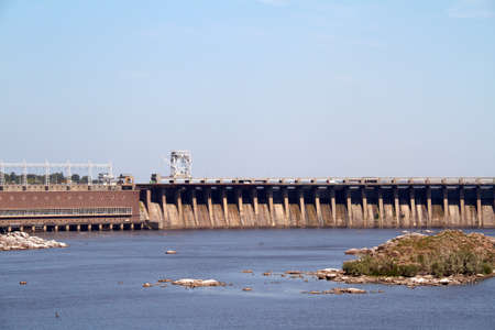 Hydroelectric power station. The river Dnepr. Zaporozhye. Ukraine