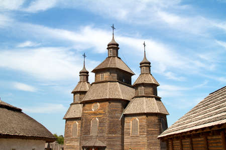 wood church on island Hortitsa Ukraine photo