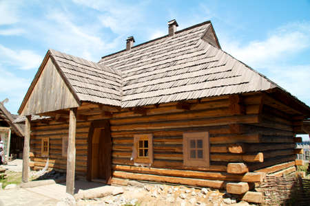 thatched roof: Old traditional wooden house (Ukraine). Editorial