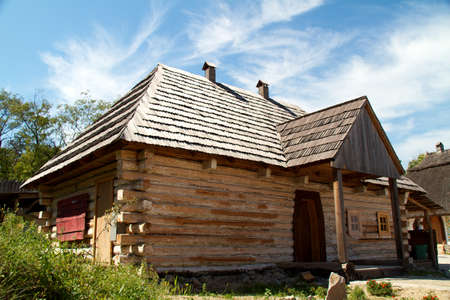 Old traditional wooden house (Ukraine).