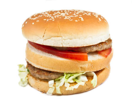 hamburger isolated on white Stock Photo - 11955614