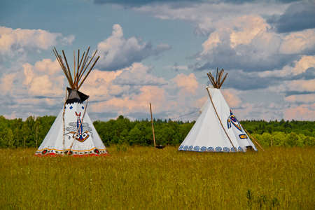An indian teepee set up in a meadow among pine woods (portrait orientation). photo