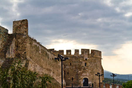 fortified: Eptapyrgio the fortified wall in the Upper Town of Thessaloniki Greece Stock Photo