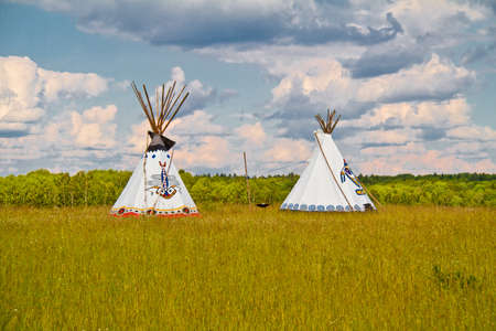 An indian teepee set up in a meadow among pine woods (portrait orientation). Stock Photo - 11985565