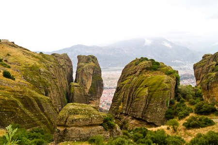 Meteora cliffs and monasteries photo