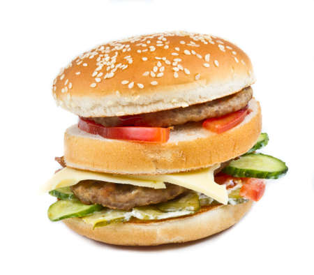 hamburger isolated on white photo