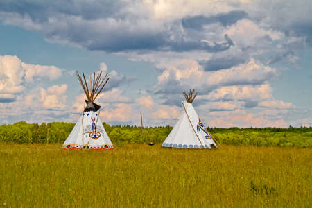 An indian teepee set up in a meadow among pine woods (portrait orientation). Stock Photo - 12271590
