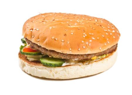 chicken burger: hamburger isolated on white Stock Photo