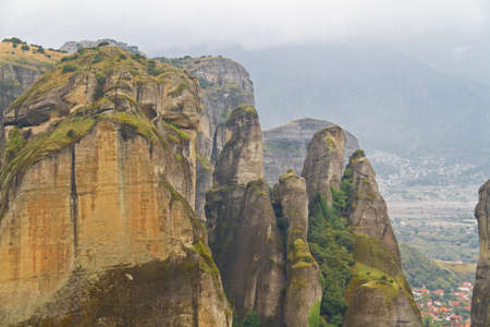 monasteries: Meteora cliffs and monasteries Stock Photo