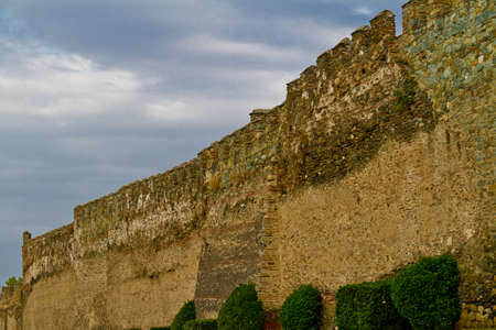 Eptapyrgio the fortified wall in the Upper Town of Thessaloniki Greece Editorial