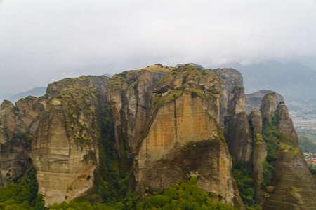 meteora: Meteora cliffs and monasteries Stock Photo