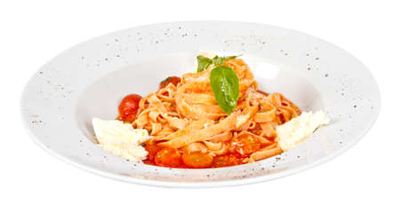 Pasta (tagliatelle) with cherry tomato and mozzarella photo