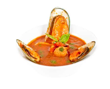 Delicious mediterranean seafood soup photo