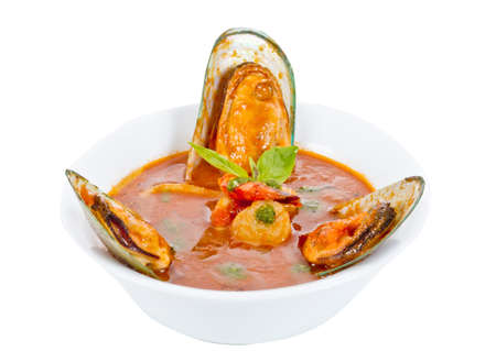 Delicious mediterranean seafood soup photo