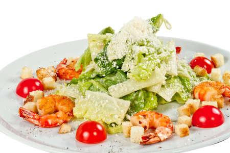 ensalada cesar: Ensalada César con camarones