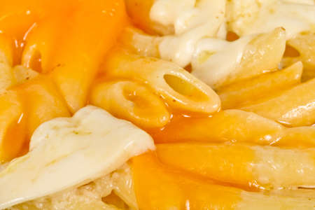 close up: Penne pasta with parmesan, dor blue, chamamber and mozzarella Stock Photo