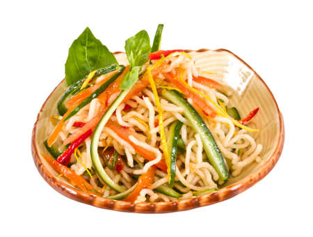 Japan salad with noodles and vegetables photo