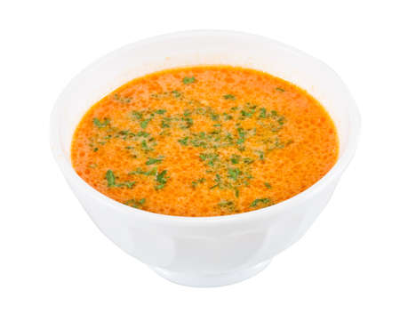 isoliert: a plate of soup on a white background