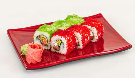 Tobiko Spicy Maki Sushi - Hot Roll with vaus type of Tobiko (flying fish roe) outside and salmon inside Stock Photo - 13079392