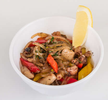 Asian spicy seafood noodle photo