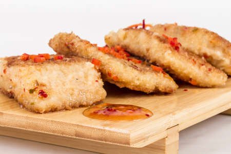 Fried fish fillets with  salad. Stock Photo - 13079693