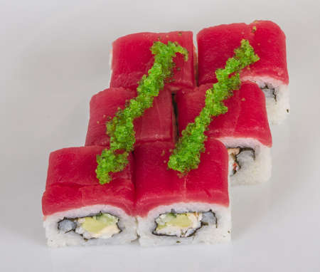 Maki Sushi - Roll made of Crab, avocado, cucumber inside. Fresh Tuna and tobico roe outside Stock Photo - 13078626