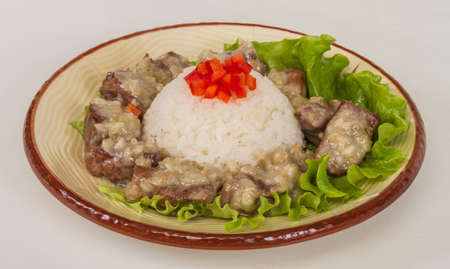 Rice and pork japanese style photo