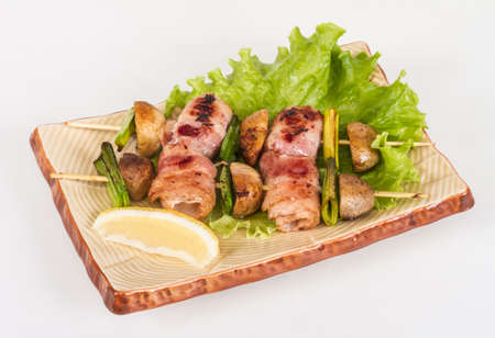 Bacon wrapped grilled Scallops with mushrooms and bacon Stock Photo - 13079449