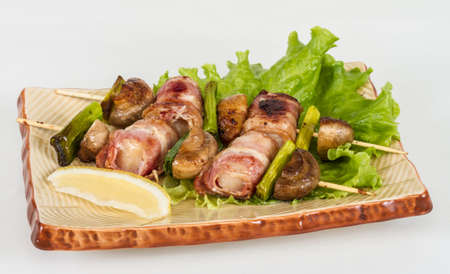 Bacon wrapped grilled Scallops with mushrooms and bacon Stock Photo - 13079581