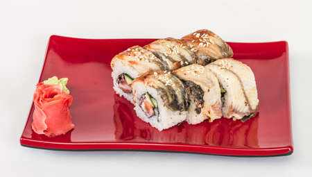 Japanese traditional Cuisine - Maki Roll with Cucumber , Cream Cheese and Raw Salmon and Eel Stock Photo - 13080220