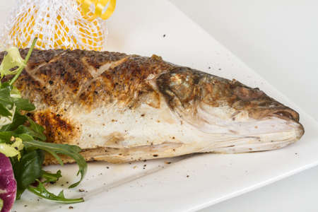 seabass: Sea-bass with vegetables Stock Photo