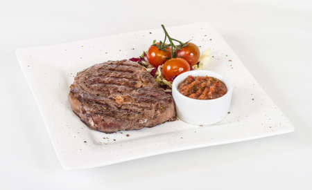 Grilled Beef Steak Isolated On a White Background Stock Photo - 13080102