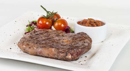 Grilled Beef Steak Isolated On a White Background Stock Photo - 13080189