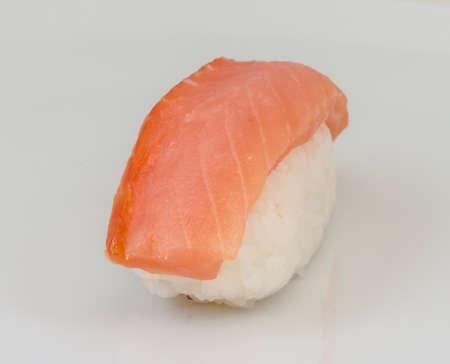 salmon sushi with white background photo