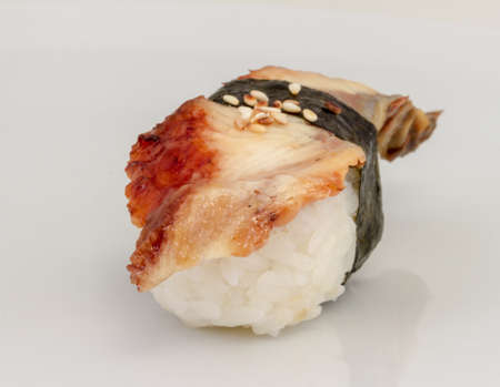 Eel sushi. Isolated over white. photo