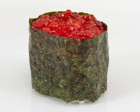 macro shot of Salmon egg on sushi nikiri roll Stock Photo - 13128464