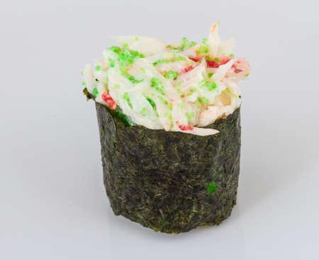 sushi kani with sauced slices of crab shrimp isolated on white background Stock Photo - 13127883