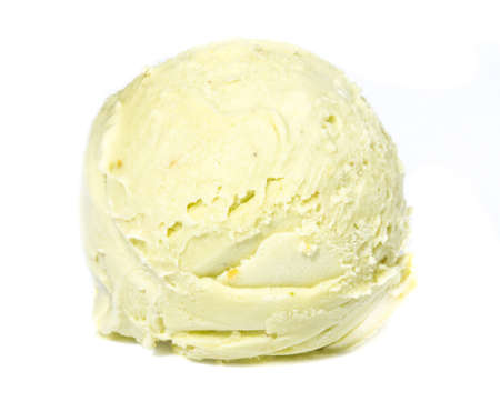 ice cream scoop: Scoop of pistachio ice cream from top on white background Stock Photo