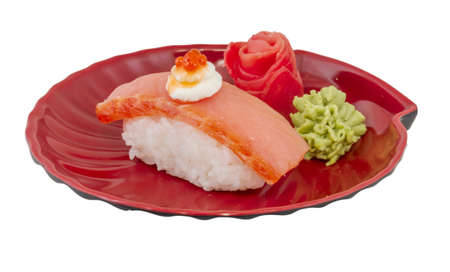salmon sushi with white background Stock Photo - 13283754