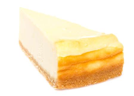 Cheesecake isolated on white background photo