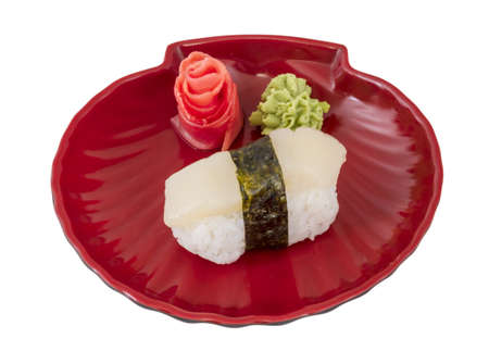 hotate: sushi hotate with slice of scallop isolated on white background Stock Photo