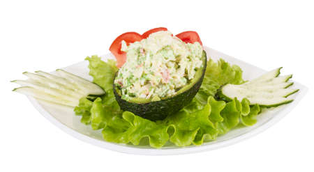 Crab meat salad with green caviar in avocado - japan cusine Stock Photo - 13635138