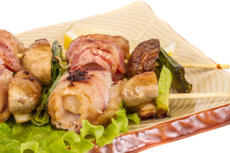 Bacon wrapped grilled Scallops with mushrooms and bacon Stock Photo - 13634117