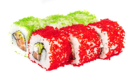 Tobiko Spicy Maki Sushi - Hot Roll with various type of Tobiko (flying fish roe) outside and salmon inside Stock Photo - 13634521