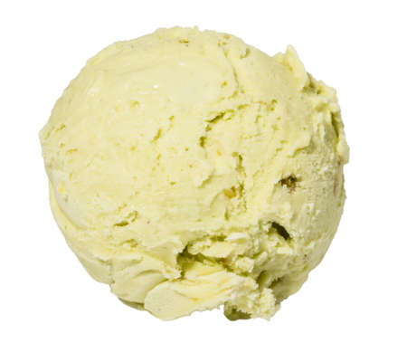 eis: Scoop of pistachio ice cream from top on white background Stock Photo