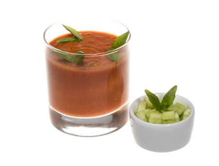 gaspacho: Gaspacho - Ice-cold and spicy vegetable soup of Andalusia, Spain. Stock Photo