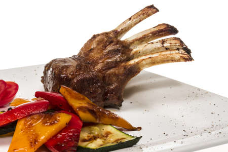 Gourmet Main Entree Course Grilled Lamb steak Stock Photo - 13634205