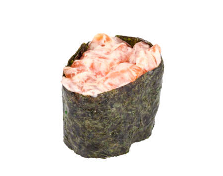 sushi with salmon on white background isolated Stock Photo - 13666639