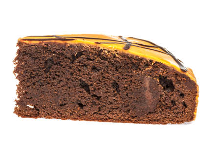 Piece of chocolate cake with icing on white isolated background Stock Photo - 13667032