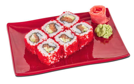 Tobiko Spicy Maki Sushi - Hot Roll with various type of Tobiko (flying fish roe) outside. Salmon, avocado and Green Lettuce inside photo